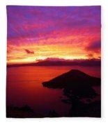 Crater Lake Fire In The Sky Fleece Blanket