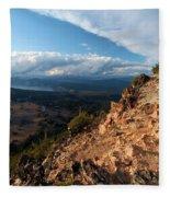 Crater Lake Mountains Fleece Blanket