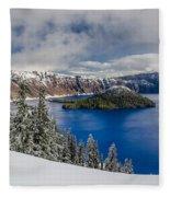 Crater Lake Panorama 1 Fleece Blanket