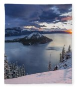 Crater Lake Snow Sunrise Fleece Blanket