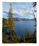 Crater Lake Through The Trees Fleece Blanket