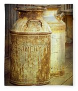 Creamery Cans In 1880 Town No 3098 Fleece Blanket