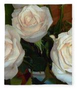 Creamy Roses II Fleece Blanket