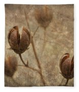 Crepe Myrtle Seed Pods With Grunge And Textures Fleece Blanket