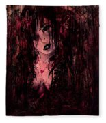 Crimson Torn Lace Fleece Blanket