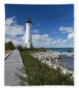 Crisp Point Lighthouse 10 Fleece Blanket