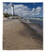 Crisp Point Lighthouse 14 Fleece Blanket