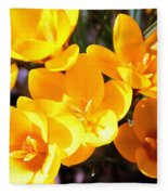 Crocuses In Yellow Fleece Blanket