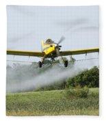 Crop Dusting Plane In Action Fleece Blanket
