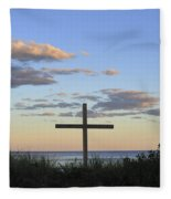 Ocean Grove Nj Cross On Beach Fleece Blanket