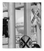 Crossing Signs In Black And White  Fleece Blanket
