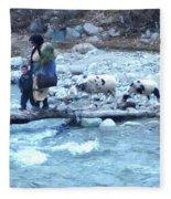 Crossing The Ourika River Fleece Blanket