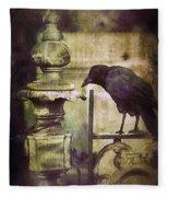 Crow On Iron Gate Fleece Blanket