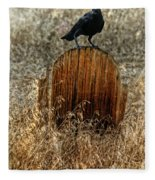Crow On Old Wooden Grave Fleece Blanket