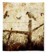 Crows And The Corner Fence Fleece Blanket