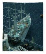 Cruiser In Santorini Island Fleece Blanket