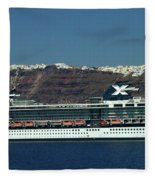 Cruiser Leaving Santorini Island Fleece Blanket