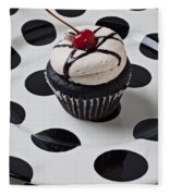 Cupcake With Cherry Fleece Blanket