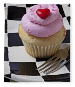 Cupcake With Heart On Checker Plate Fleece Blanket