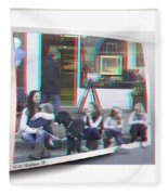 Curb Resting - Red-cyan 3d Glasses Required Fleece Blanket