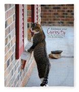 Curiosity Inspirational Cat Photograph Fleece Blanket