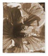 Curly Hibiscus In Sepia Fleece Blanket