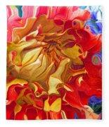 Red And Yellow Dahlia Fleece Blanket