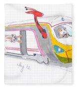 Cute Cartoon High Speed Train And Animals Fleece Blanket