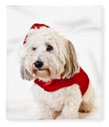 Cute Dog In Santa Outfit Fleece Blanket