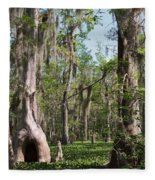 Cypress Trees And Water Hyacinth In Lake Martin Fleece Blanket