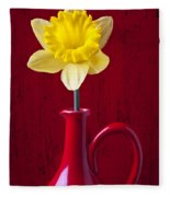 Daffodil In Red Pitcher Fleece Blanket