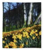 Daffodils Narcissus Flowers In A Forest Fleece Blanket