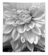 Dahlia In Black And White Fleece Blanket