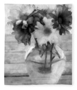 Daisy Crazy Bw Revisited Fleece Blanket