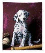 Dalmatian Puppy With Baseball Fleece Blanket