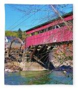 Damaged Covered Bridge Fleece Blanket