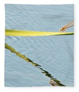 Damselfly Reflection Fleece Blanket