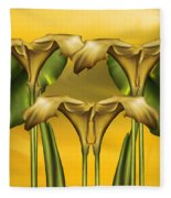 Dance Of The Yellow Calla Lilies Fleece Blanket