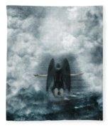 Dark Angel Kneeling On Stairway In The Clouds Fleece Blanket