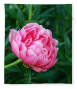 Dark Pink Peony Flower Series 2 Fleece Blanket