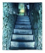 Dark Staircase With Man At Top Fleece Blanket