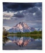 Darkening Skies Over Oxbow Bend Fleece Blanket