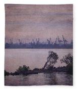 Dawn On The River Neva In Russia Fleece Blanket