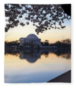 Dawn Over Jefferson Memorial Fleece Blanket