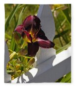 Day Lily And White Fence II Fleece Blanket