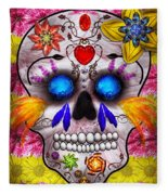 Day Of The Dead - Death Mask Fleece Blanket