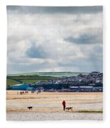 Daymer Bay Beach Landscape In Cornwall Uk Fleece Blanket