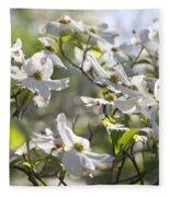 Dazzling Sunlit White Spring Dogwood Blossoms Fleece Blanket