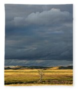 Dead Tree At Dusk With Storm Clouds Fleece Blanket