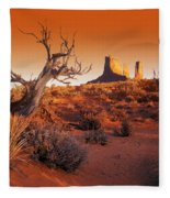 Dead Tree In Desert Monument Valley Fleece Blanket